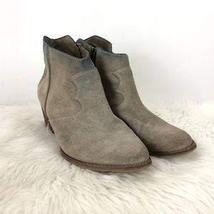 Marc Fisher Grey Suede Tinted Western Ankle Boots